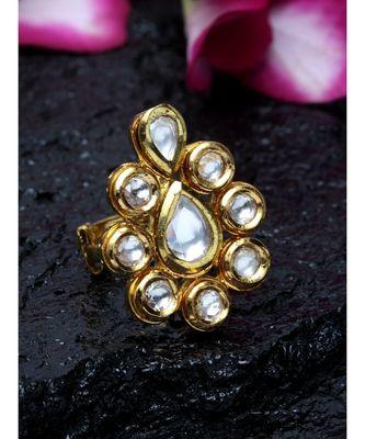 Pan Leaf Kundan Ring