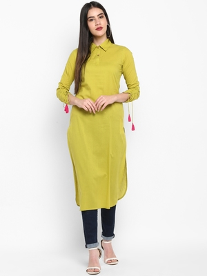 Green Plain Solid Shirt collor Knee long Cotton Straight Kurta & Kurti for Women