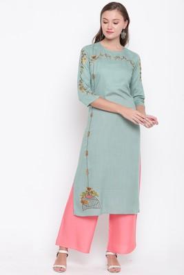 women's embroidered straight rayon light green kurti with palazzo set