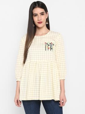 OFF white Embroidered Round neck Mid thigh Cuff sleeve Cotton Slub Anarkali Top for Women