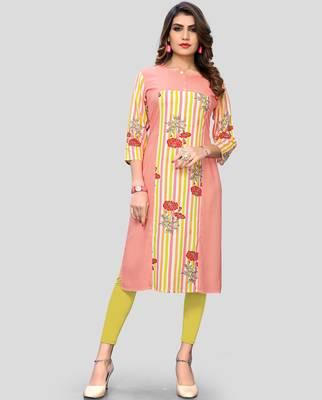 women's printed straight rayon peach kurti