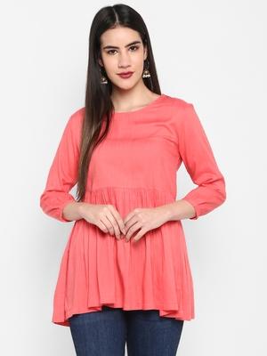 Peach Plain Solid Round neck Mid thigh Cuff sleeve Rayon Slub Anarkali Top for Women