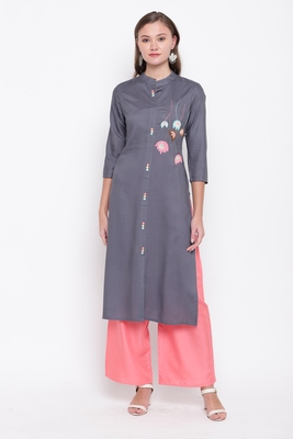 women's embroidered/solid straight rayon grey kurti with palazzo set