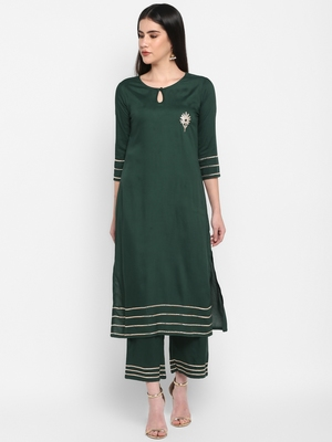 Bottle green Plain Solid Round neck Knee long Rayon Gota work Straight Kurta & Kurti Palazzo set for Women