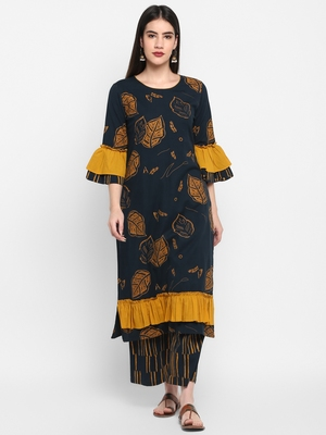 Black printed Frill Sleeve Round neck Knee long Cotton Slub Straight Kurta & Kurti Palazzo set for Women