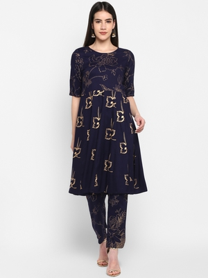 Navy Gold foil printed Round neck Knee long Rayon Anarkali Kurta & Kurti Pants set for Women