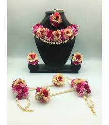 FASHION JEWELLERY PINK COLOR FLORAL GOTA PATTI MEHANDI HALDI NECKLACE, EARRINGS AND MAANG TIKA FOR WOMEN AND GIRLS