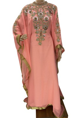 peach georgette moroccan islamic dubai kaftan farasha zari and stone work dress