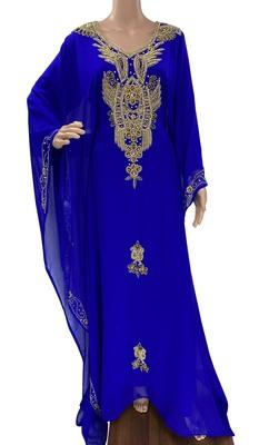 royal blue georgette moroccan islamic dubai kaftan farasha zari and stone work dress