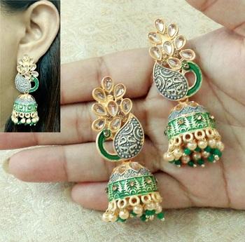 Lalso Beautiful Kundan MultiColour Meenakari Matt Finish Peacock Jhumka Earrings - LMNJ01_GR