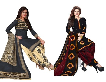 COMBO OF 2 PRINTED SYNTHETIC UNSTITCHED SALWAR WITH DUPATTA