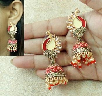 Lalso Beautiful Kundan MultiColour Meenakari Matt Finish Peacock Jhumka Earrings - LMNJ04_MR