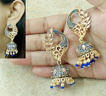 Lalso Beautiful Kundan MultiColour Meenakari Matt Finish Peacock Jhumka Earrings - LMNJ05_BL
