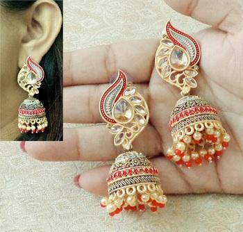 Lalso Beautiful Kundan MultiColour Meenakari Matt Finish Jhumka Earrings - LMNJ06_MR
