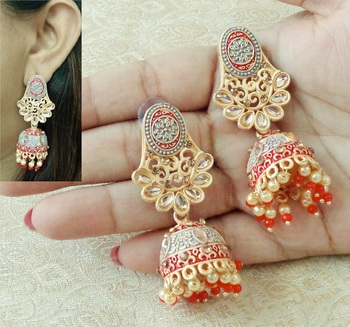 Lalso Beautiful Kundan MultiColour Meenakari Matt Finish Jhumka Earrings - LMNJ07_MR