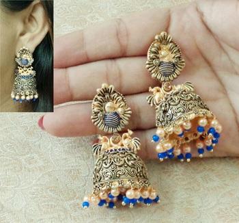 Lalso Beautiful Kundan MultiColour Meenakari Matt Finish Jhumka Earrings - LMNJ08_BL