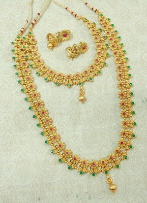 Lalso Royal Ruby Green Short Long Combo Jewelry Necklace Earring Set - LCNS01_RG