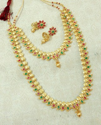 Lalso Royal Ruby Green Short Long Combo Jewelry Necklace Earring Set - LCNS02_RG