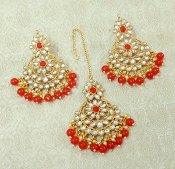 Lalso Beautiful Red Kundan Maangtikka Earring Set Combo Jewelry - LKTE04_RD