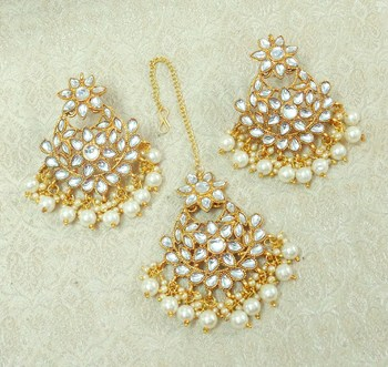 Lalso Beautiful White Kundan Maangtikka Earring Set Combo Jewelry - LKTE06_WT