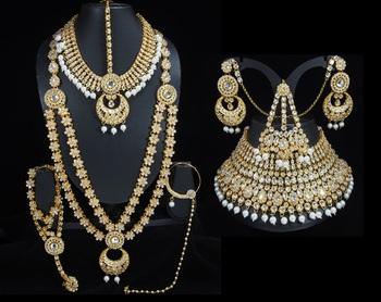 Lalso Beautiful White Kundan Full Bridal Wedding Jewelry Set - LBS08_WT