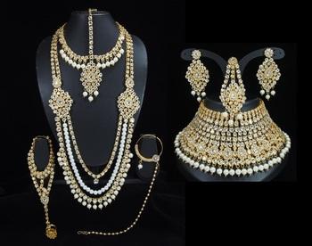 Lalso Beautiful White Kundan Full Bridal Wedding Jewelry Set - LBS09_WT