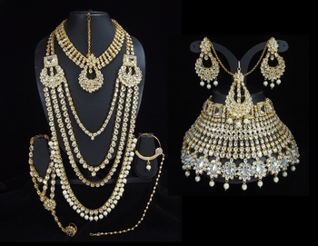 Lalso Beautiful White Kundan Full Bridal Wedding Jewelry Set - LBS10_WT