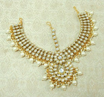 Lalso Designer White Kundan Heavy Bridal Wedding Mathapatti Hair Jewelry - LHMP03_WT