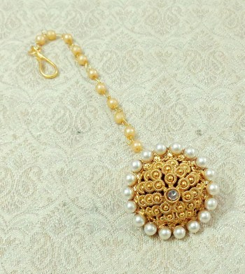 Lalso Copper Gold Plated Borla Maangtikka Mathapatti Hair Jewelry - LCBOR05