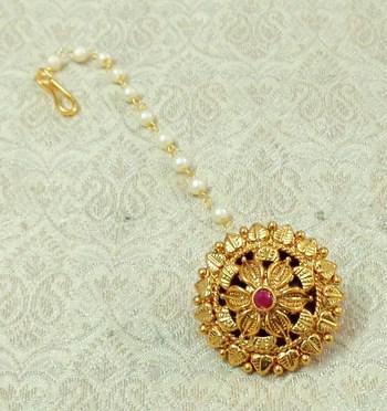 Lalso Copper Gold Plated Borla Maangtikka Mathapatti Hair Jewelry - LCBOR04