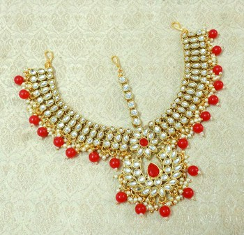 Lalso Designer Red Kundan Heavy Bridal Wedding Mathapatti Hair Jewelry - LHMP03_RD