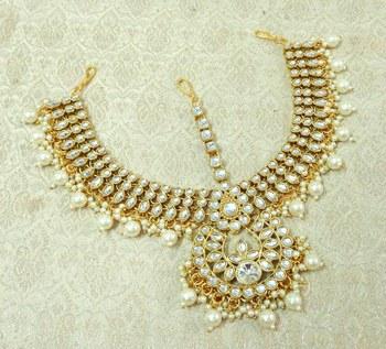 Lalso Designer White Kundan Heavy Bridal Wedding Mathapatti Hair Jewelry - LHMP02_WT