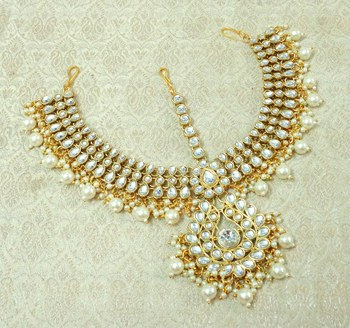 Lalso Designer White Kundan Heavy Bridal Wedding Mathapatti Hair Jewelry - LHMP01_WT