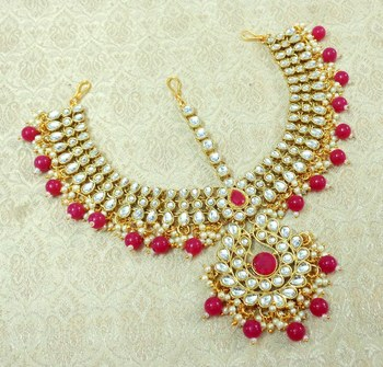 Lalso Designer Ruby Kundan Heavy Bridal Wedding Mathapatti Hair Jewelry - LHMP01_RB