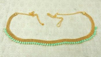Lalso Designer Brass Chain Sea Green Pearl Drops Kamarband Waist Belt Jewelry - LBCKB02_SG