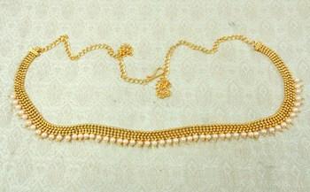 Lalso Designer Brass Chain Golden Pearl Drops Kamarband Waist Belt Jewelry - LBCKB02_LCT