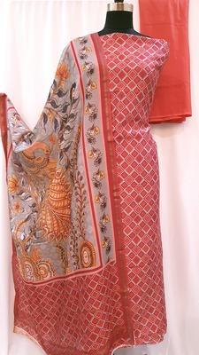Peach Orange Cotton Silk Geometrical Print Suit Fabric