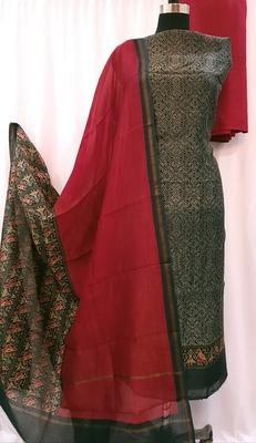 Black Red Chanderi Silk Unstitched Suit Fabric
