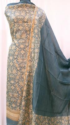 Pale Blue Chanderi Silk Unstitched Suit Fabric