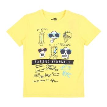 Yellow Printed Cotton Boys Tshirts
