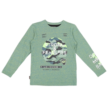Green Printed Cotton Boys Tshirts