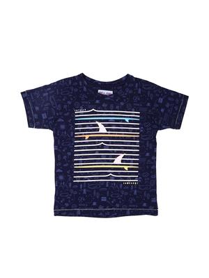 Blue printed cotton boys-tshirts