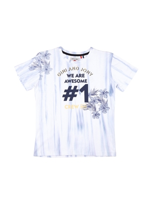 White Printed Cotton Boys Tshirts