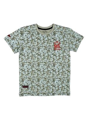 Beige printed cotton boys-tshirts