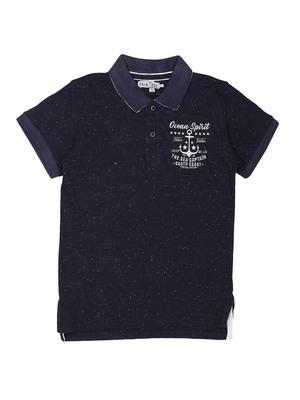 Blue Printed Cotton Boys Tshirts