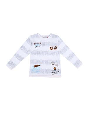 White printed cotton boys-tshirts