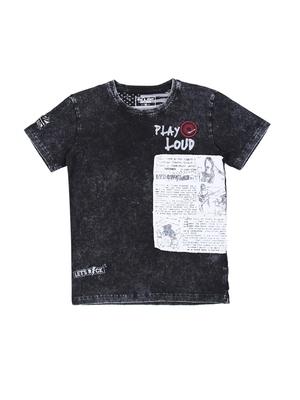 Black printed cotton boys-tshirts
