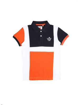 Orange printed cotton boys-tshirts