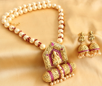 Divine Matte Finish Ruby Bridal Lakshmi Necklace Set