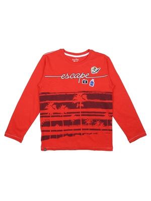 Red Printed Cotton Boys Tshirts
